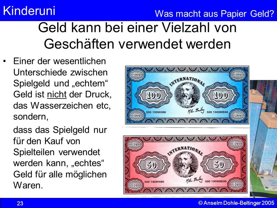 Kinderuni Was macht aus Papier Geld? 23 © Anselm Dohle-Beltinger 2005 Geld kann bei einer Vielzahl von Geschäften verwendet werden Einer der wesentlic