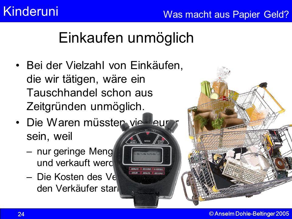 Kinderuni Was macht aus Papier Geld? 24 © Anselm Dohle-Beltinger 2005 Einkaufen unmöglich Bei der Vielzahl von Einkäufen, die wir tätigen, wäre ein Ta