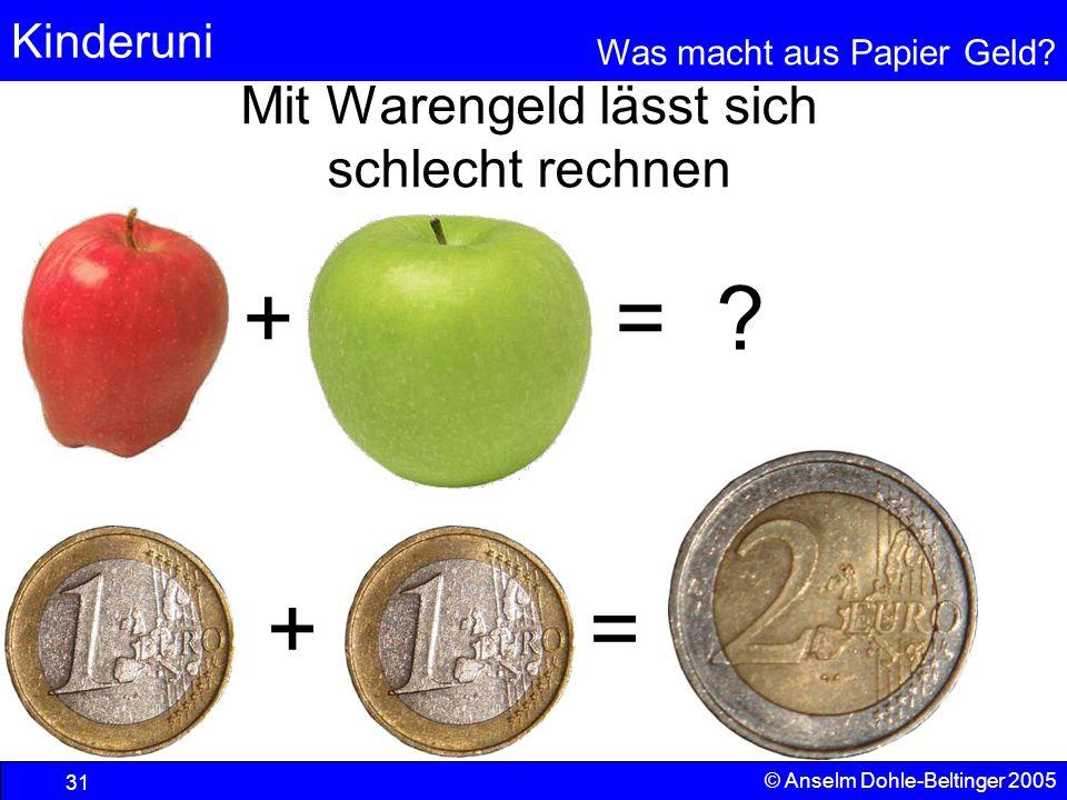 Kinderuni Was macht aus Papier Geld? 31 © Anselm Dohle-Beltinger 2005 Mit Warengeld lässt sich schlecht rechnen + = + = ?