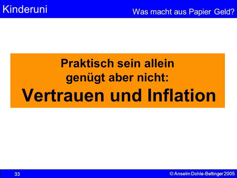 Kinderuni Was macht aus Papier Geld? 33 © Anselm Dohle-Beltinger 2005 Praktisch sein allein genügt aber nicht: Vertrauen und Inflation
