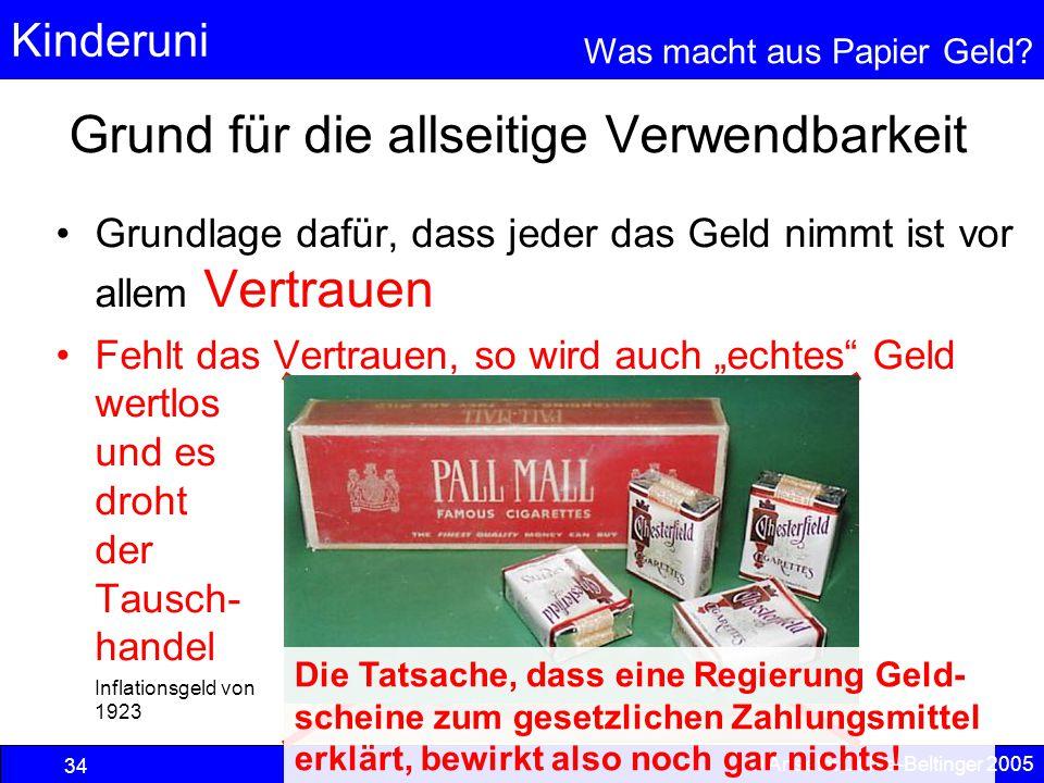 Kinderuni Was macht aus Papier Geld? 34 © Anselm Dohle-Beltinger 2005 Grund für die allseitige Verwendbarkeit Grundlage dafür, dass jeder das Geld nim
