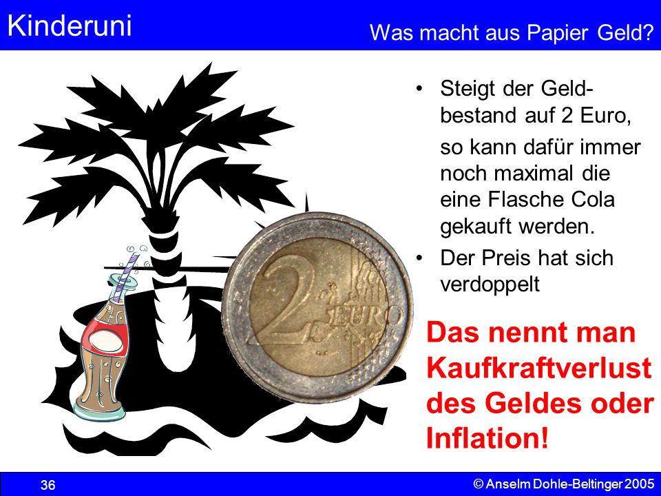 Kinderuni Was macht aus Papier Geld? 36 © Anselm Dohle-Beltinger 2005 Steigt der Geld- bestand auf 2 Euro, so kann dafür immer noch maximal die eine F