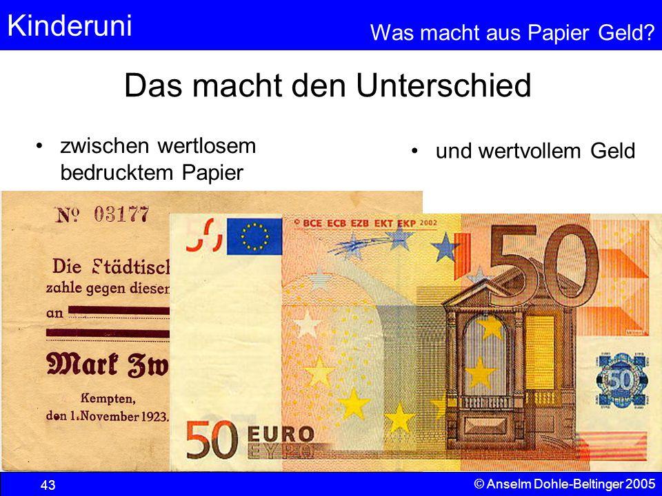 Kinderuni Was macht aus Papier Geld? 43 © Anselm Dohle-Beltinger 2005 Das macht den Unterschied zwischen wertlosem bedrucktem Papier und wertvollem Ge