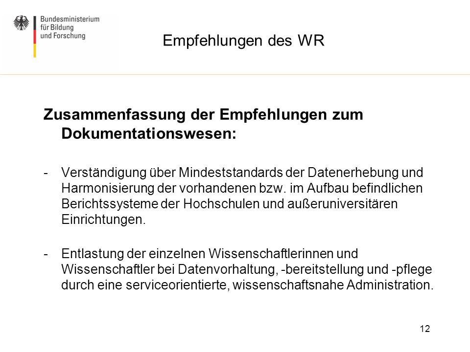 Empfehlungen des WR Zusammenfassung der Empfehlungen zum Dokumentationswesen: -Verständigung über Mindeststandards der Datenerhebung und Harmonisierun