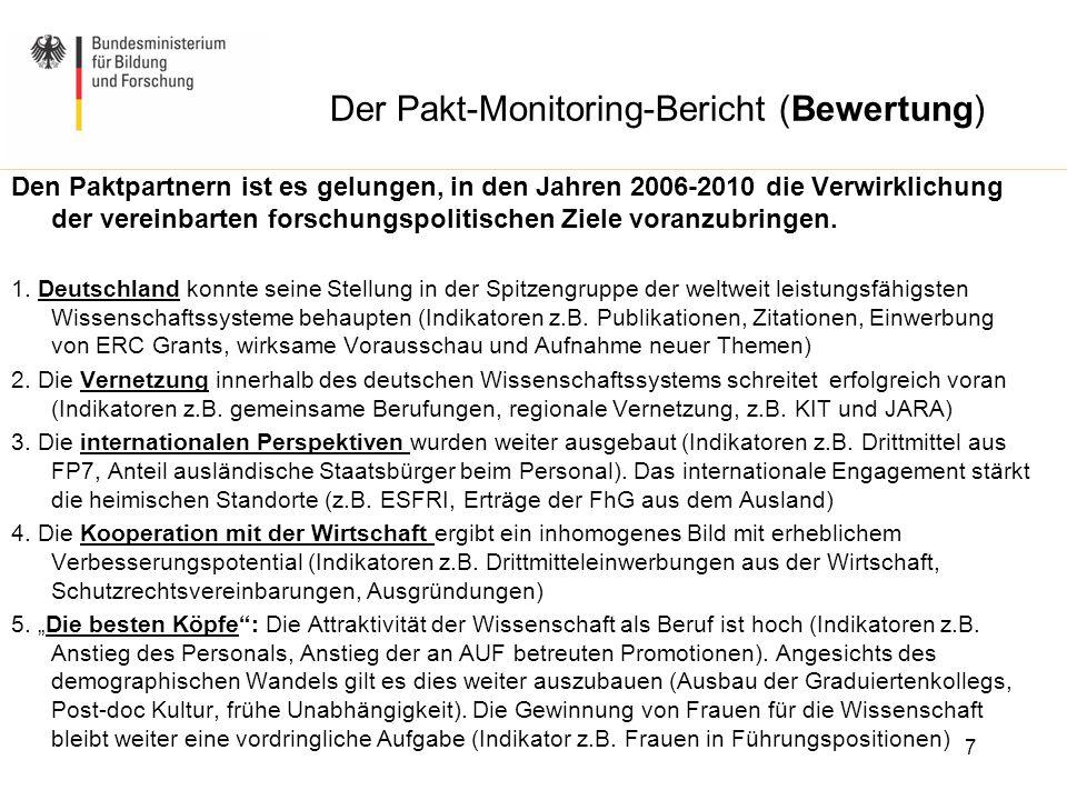 Der Pakt-Monitoring-Bericht (Bewertung) Den Paktpartnern ist es gelungen, in den Jahren 2006-2010 die Verwirklichung der vereinbarten forschungspoliti