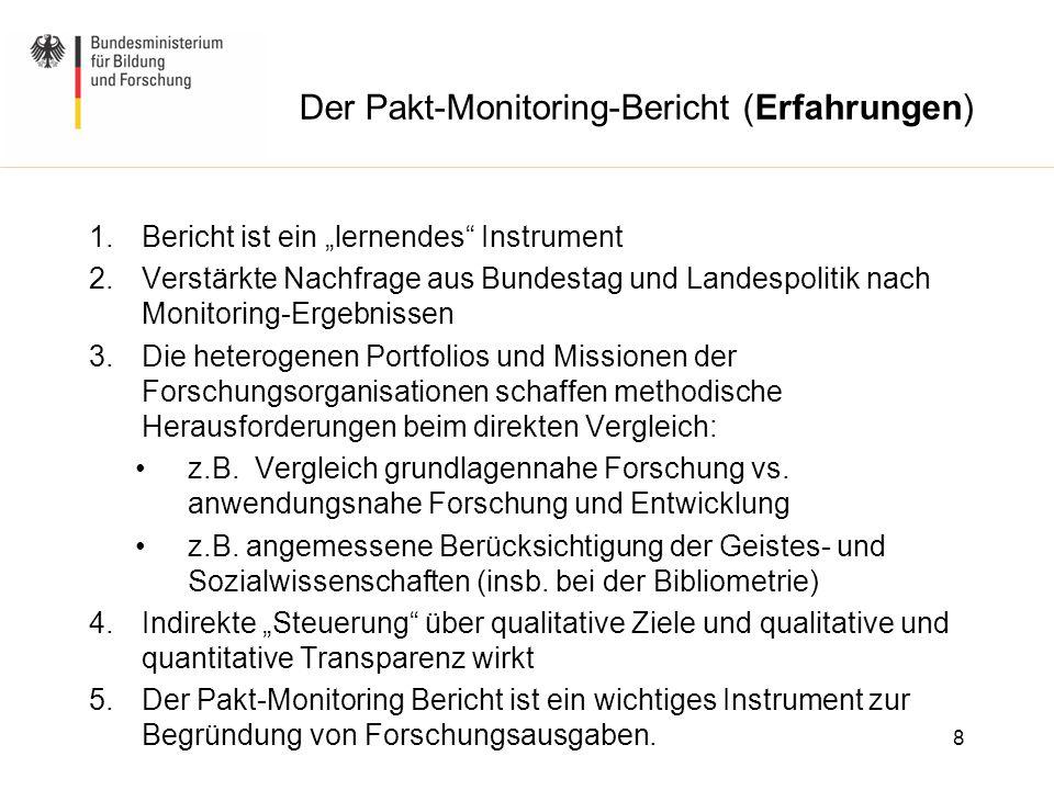 """Der Pakt-Monitoring-Bericht (Erfahrungen) 1.Bericht ist ein """"lernendes"""" Instrument 2.Verstärkte Nachfrage aus Bundestag und Landespolitik nach Monitor"""