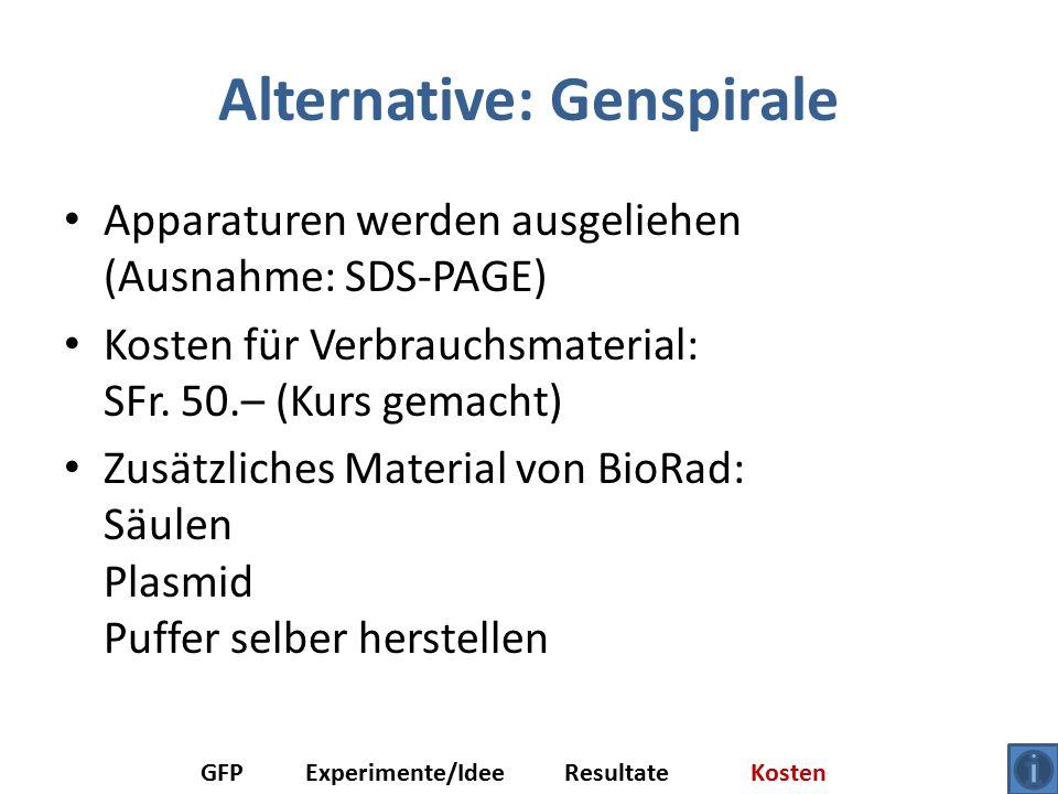 Alternative: Genspirale Apparaturen werden ausgeliehen (Ausnahme: SDS-PAGE) Kosten für Verbrauchsmaterial: SFr.