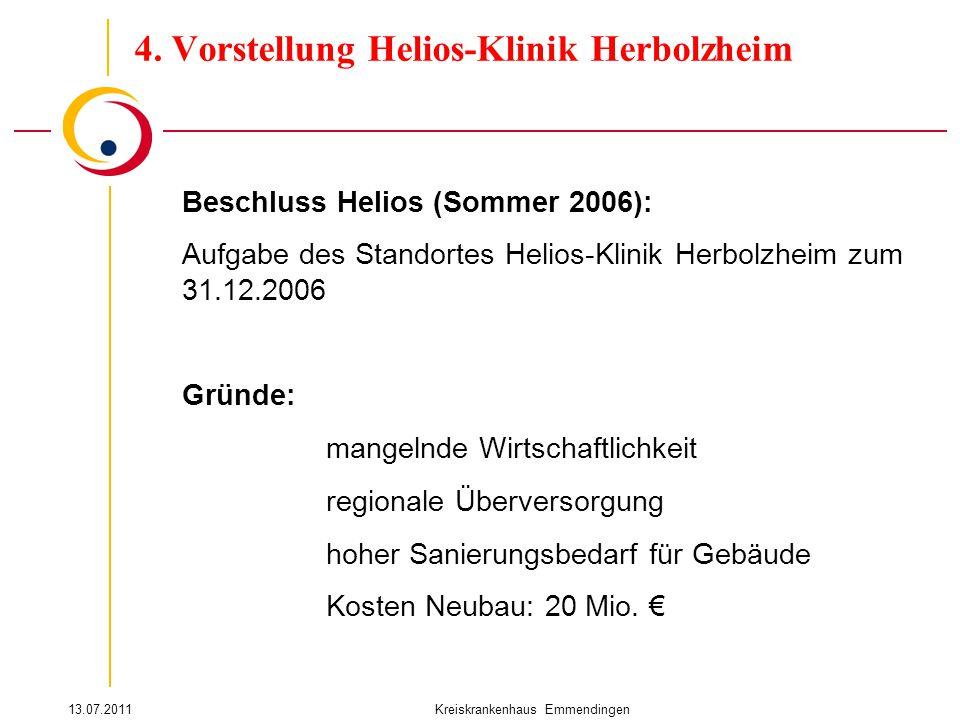 13.07.2011Kreiskrankenhaus Emmendingen Beschluss Helios (Sommer 2006): Aufgabe des Standortes Helios-Klinik Herbolzheim zum 31.12.2006 Gründe: mangelnde Wirtschaftlichkeit regionale Überversorgung hoher Sanierungsbedarf für Gebäude Kosten Neubau: 20 Mio.
