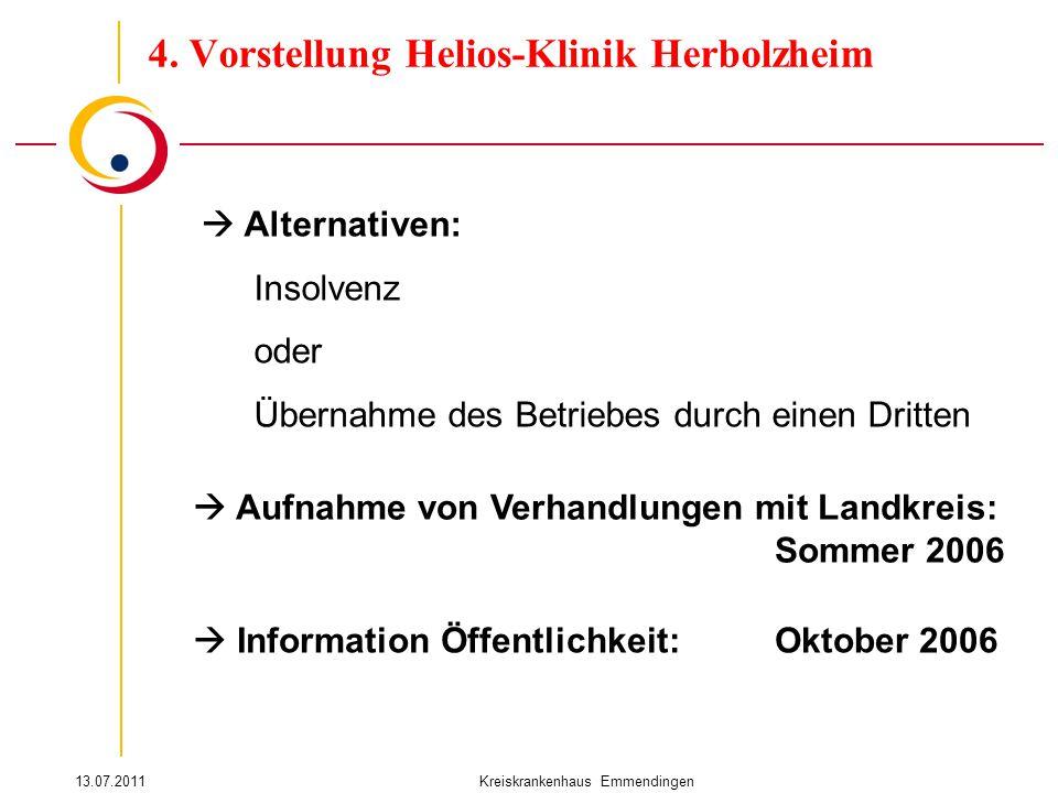 13.07.2011Kreiskrankenhaus Emmendingen  Alternativen: Insolvenz oder Übernahme des Betriebes durch einen Dritten 4. Vorstellung Helios-Klinik Herbolz