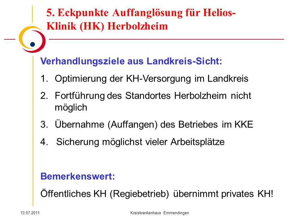 13.07.2011Kreiskrankenhaus Emmendingen 5. Eckpunkte Auffanglösung für Helios- Klinik (HK) Herbolzheim Verhandlungsziele aus Landkreis-Sicht: 1.Optimie
