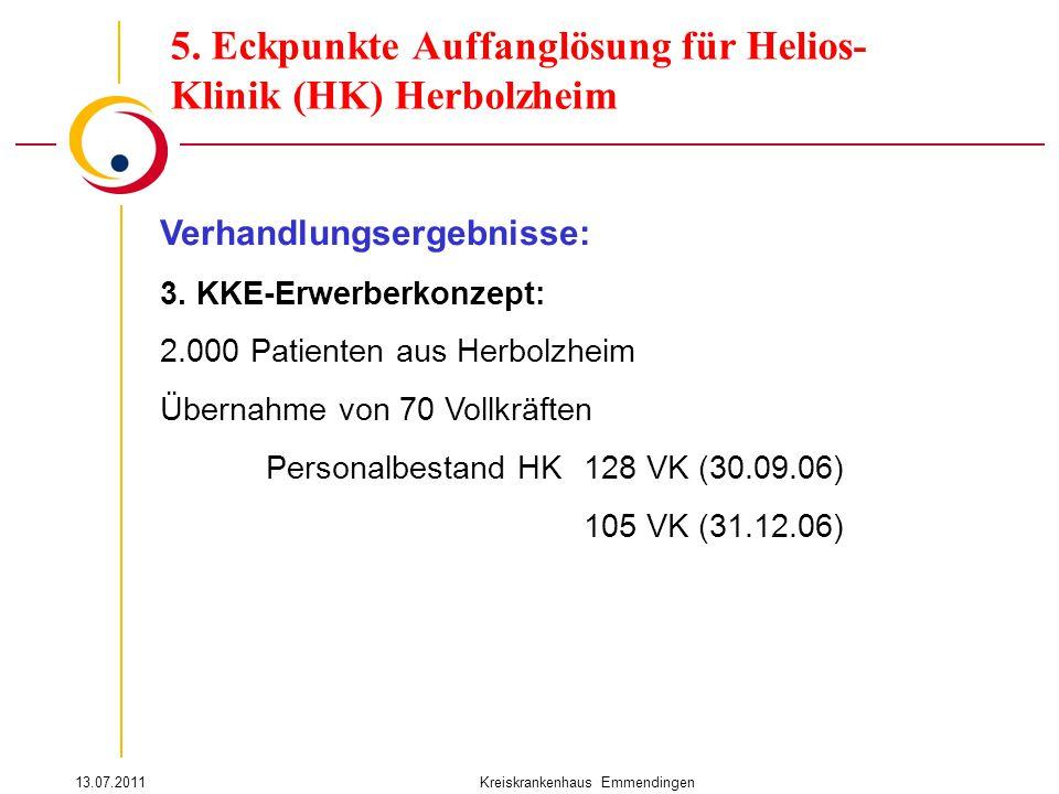 13.07.2011Kreiskrankenhaus Emmendingen Verhandlungsergebnisse: 3. KKE-Erwerberkonzept: 2.000 Patienten aus Herbolzheim Übernahme von 70 Vollkräften Pe