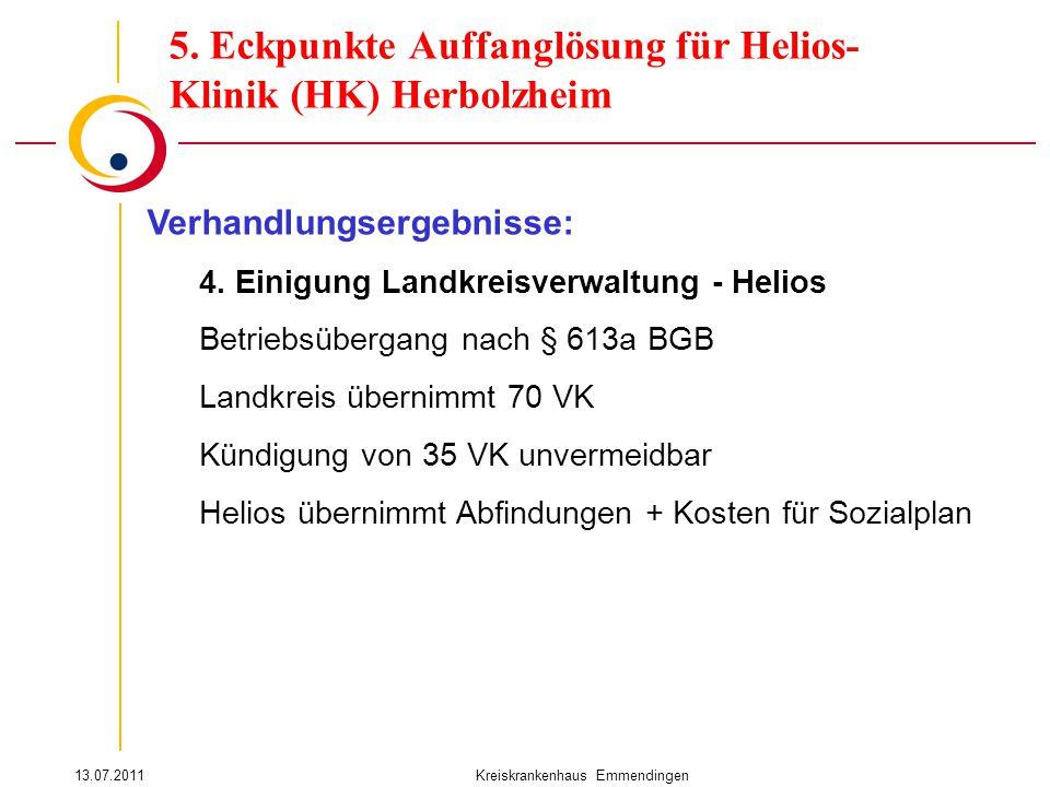13.07.2011Kreiskrankenhaus Emmendingen Verhandlungsergebnisse: 4. Einigung Landkreisverwaltung - Helios Betriebsübergang nach § 613a BGB Landkreis übe