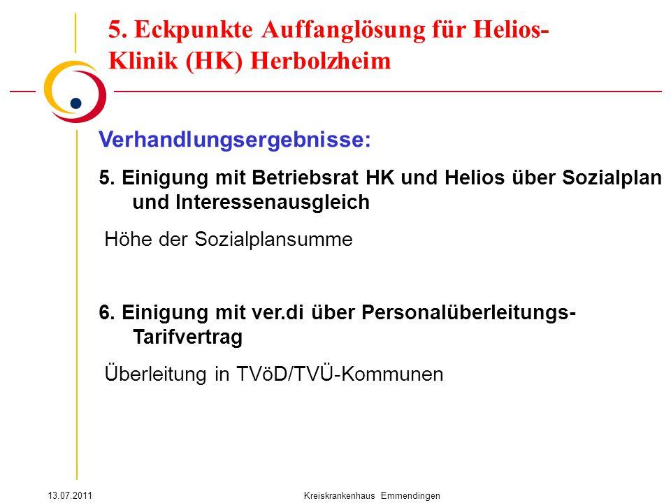 13.07.2011Kreiskrankenhaus Emmendingen Verhandlungsergebnisse: 5. Einigung mit Betriebsrat HK und Helios über Sozialplan und Interessenausgleich Höhe