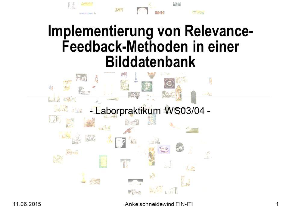 11.06.2015Anke schneidewind FIN-ITI1 Implementierung von Relevance- Feedback-Methoden in einer Bilddatenbank - Laborpraktikum WS03/04 -