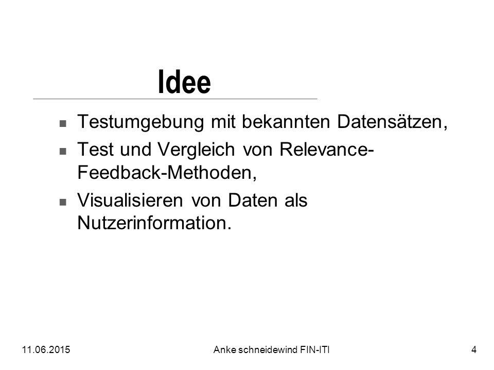11.06.2015Anke schneidewind FIN-ITI4 Idee Testumgebung mit bekannten Datensätzen, Test und Vergleich von Relevance- Feedback-Methoden, Visualisieren von Daten als Nutzerinformation.