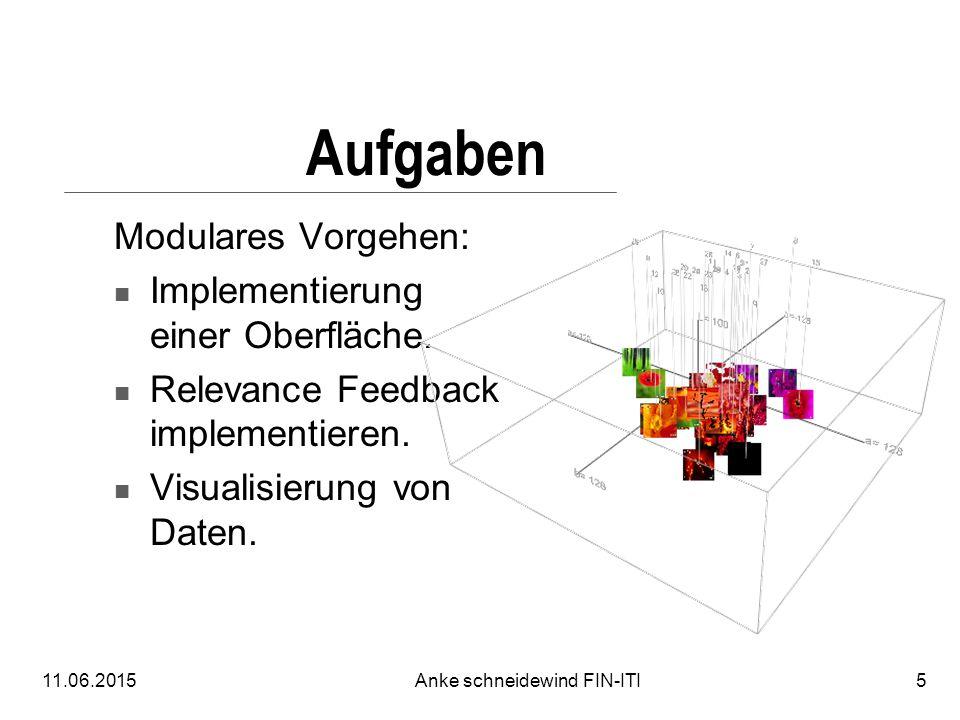 11.06.2015Anke schneidewind FIN-ITI5 Aufgaben Modulares Vorgehen: Implementierung einer Oberfläche. Relevance Feedback implementieren. Visualisierung