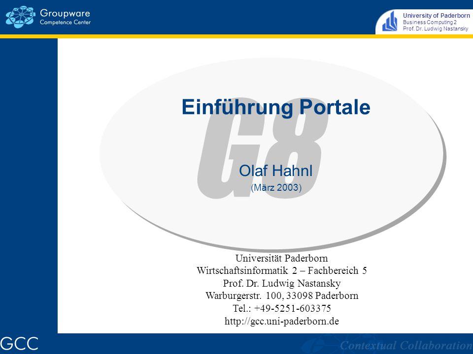 University of Paderborn Business Computing 2 Prof.