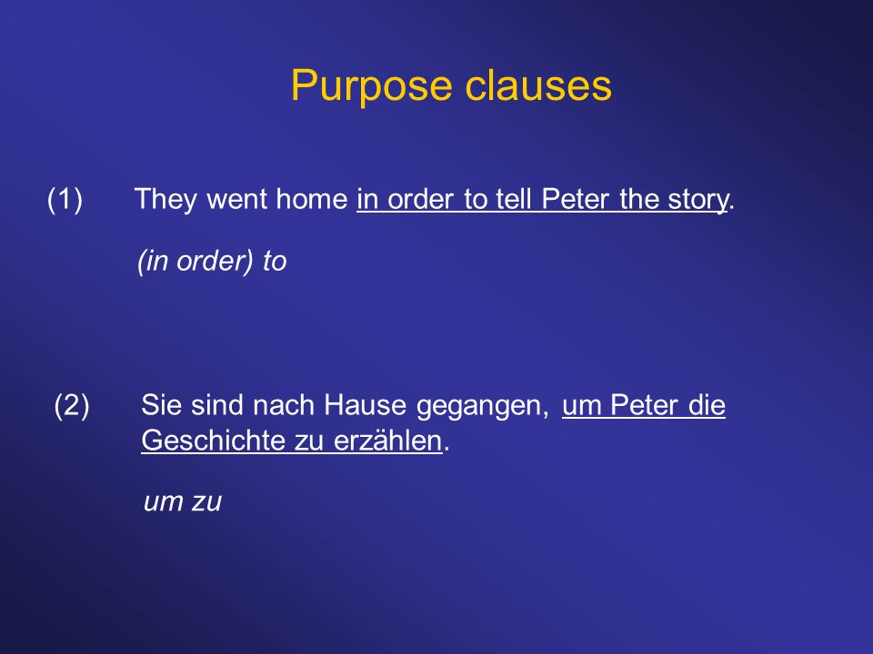 Purpose clauses (1)They went home in order to tell Peter the story.