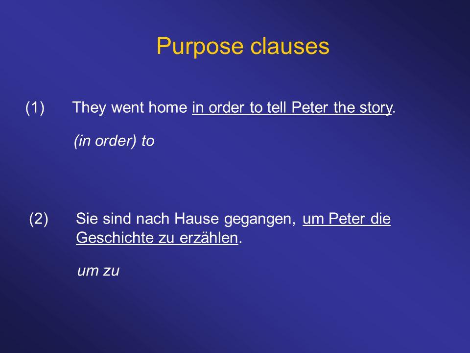Purpose clauses (1)They went home in order to tell Peter the story. (in order) to (2)Sie sind nach Hause gegangen, um Peter die Geschichte zu erzählen