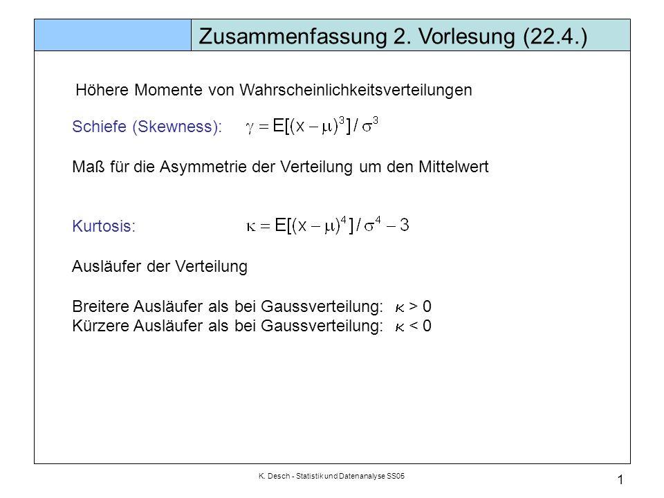 K. Desch - Statistik und Datenanalyse SS05 1 Zusammenfassung 2. Vorlesung (22.4.) Schiefe (Skewness): Maß für die Asymmetrie der Verteilung um den Mit