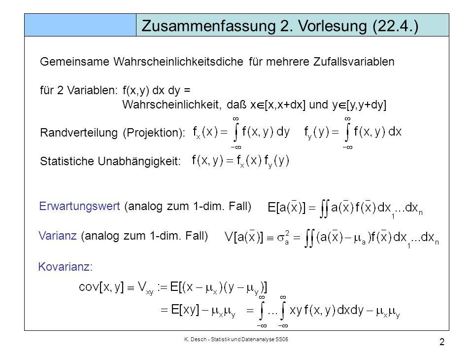 K. Desch - Statistik und Datenanalyse SS05 2 Zusammenfassung 2. Vorlesung (22.4.) Gemeinsame Wahrscheinlichkeitsdiche für mehrere Zufallsvariablen für