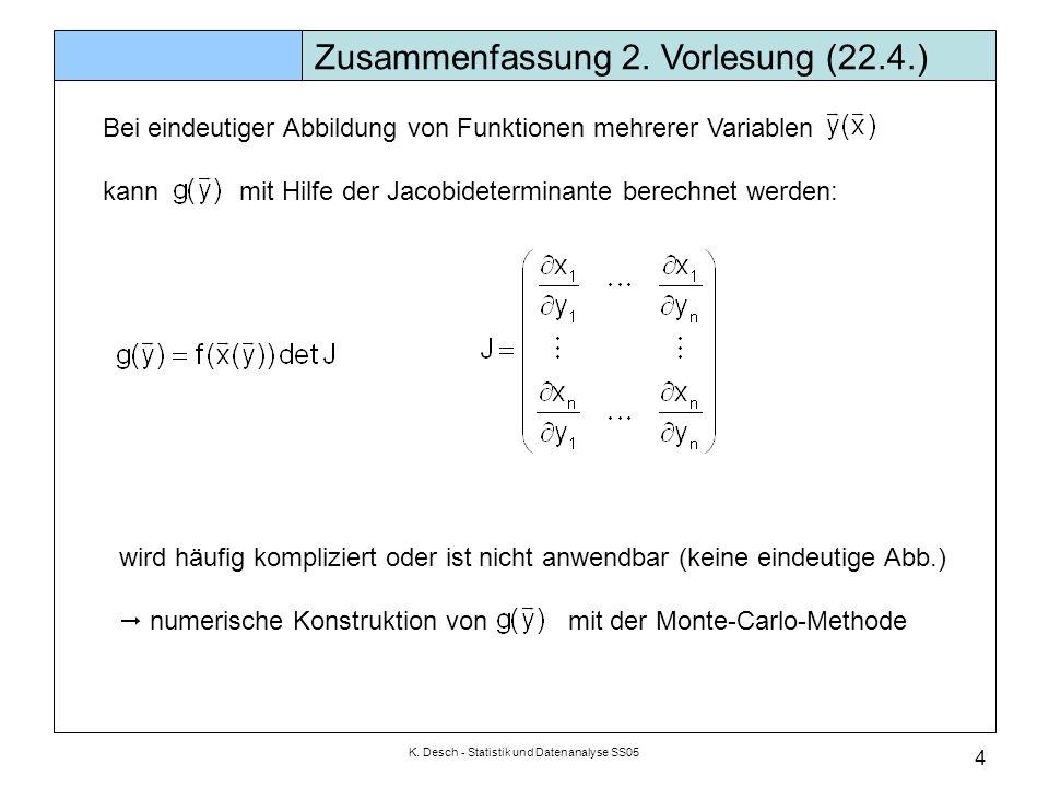 K. Desch - Statistik und Datenanalyse SS05 4 Zusammenfassung 2. Vorlesung (22.4.) Bei eindeutiger Abbildung von Funktionen mehrerer Variablen kann mit