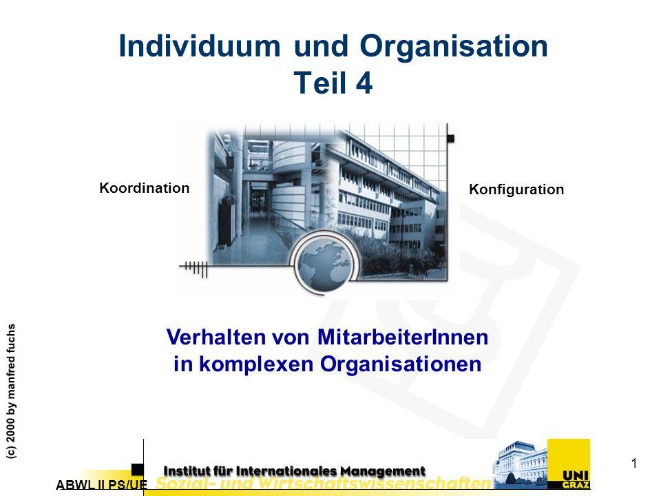 ABWL II PS/UE (c) 2000 by manfred fuchs 1 Individuum und Organisation Teil 4 Verhalten von MitarbeiterInnen in komplexen Organisationen Koordination Konfiguration