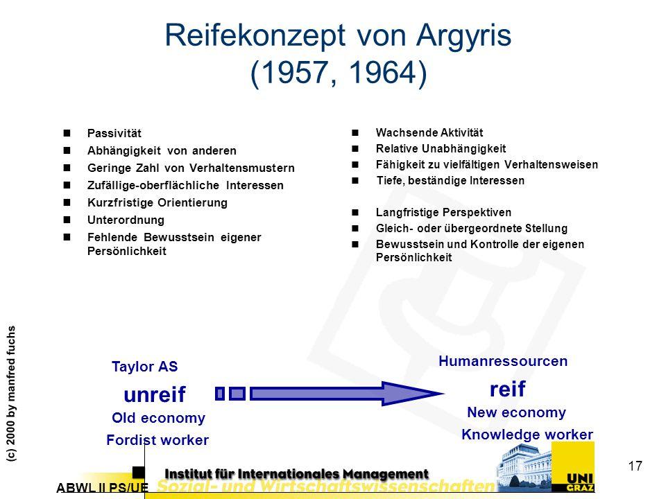 ABWL II PS/UE (c) 2000 by manfred fuchs 17 Reifekonzept von Argyris (1957, 1964) nPassivität nAbhängigkeit von anderen nGeringe Zahl von Verhaltensmustern nZufällige-oberflächliche Interessen nKurzfristige Orientierung nUnterordnung nFehlende Bewusstsein eigener Persönlichkeit nWachsende Aktivität nRelative Unabhängigkeit nFähigkeit zu vielfältigen Verhaltensweisen nTiefe, beständige Interessen nLangfristige Perspektiven nGleich- oder übergeordnete Stellung nBewusstsein und Kontrolle der eigenen Persönlichkeit reif unreif Old economy New economy Fordist worker Knowledge worker Taylor AS Humanressourcen