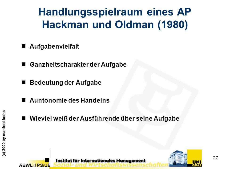 ABWL II PS/UE (c) 2000 by manfred fuchs 27 Handlungsspielraum eines AP Hackman und Oldman (1980) nAufgabenvielfalt nGanzheitscharakter der Aufgabe nBedeutung der Aufgabe nAuntonomie des Handelns nWieviel weiß der Ausführende über seine Aufgabe