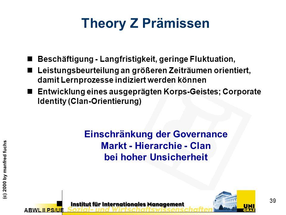 ABWL II PS/UE (c) 2000 by manfred fuchs 39 Theory Z Prämissen nBeschäftigung - Langfristigkeit, geringe Fluktuation, nLeistungsbeurteilung an größeren Zeiträumen orientiert, damit Lernprozesse indiziert werden können nEntwicklung eines ausgeprägten Korps-Geistes; Corporate Identity (Clan-Orientierung) Einschränkung der Governance Markt - Hierarchie - Clan bei hoher Unsicherheit