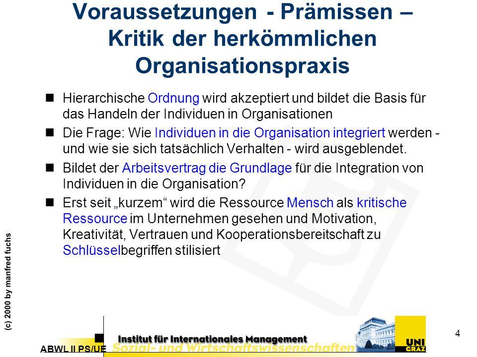 ABWL II PS/UE (c) 2000 by manfred fuchs 4 Voraussetzungen - Prämissen – Kritik der herkömmlichen Organisationspraxis nHierarchische Ordnung wird akzeptiert und bildet die Basis für das Handeln der Individuen in Organisationen nDie Frage: Wie Individuen in die Organisation integriert werden - und wie sie sich tatsächlich Verhalten - wird ausgeblendet.