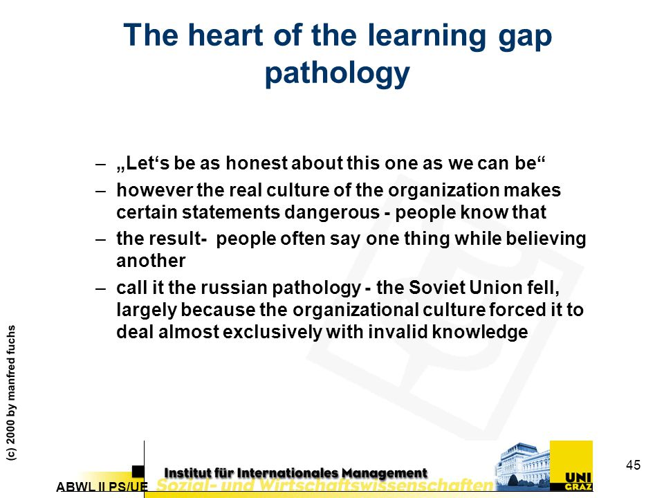 """ABWL II PS/UE (c) 2000 by manfred fuchs 45 The heart of the learning gap pathology –""""Let's be as honest about this one as we can be"""" –however the real"""