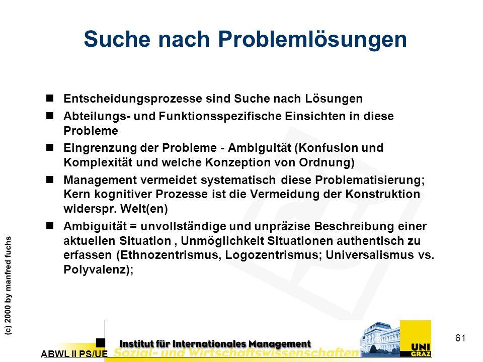 ABWL II PS/UE (c) 2000 by manfred fuchs 61 Suche nach Problemlösungen nEntscheidungsprozesse sind Suche nach Lösungen nAbteilungs- und Funktionsspezifische Einsichten in diese Probleme nEingrenzung der Probleme - Ambiguität (Konfusion und Komplexität und welche Konzeption von Ordnung) nManagement vermeidet systematisch diese Problematisierung; Kern kognitiver Prozesse ist die Vermeidung der Konstruktion widerspr.
