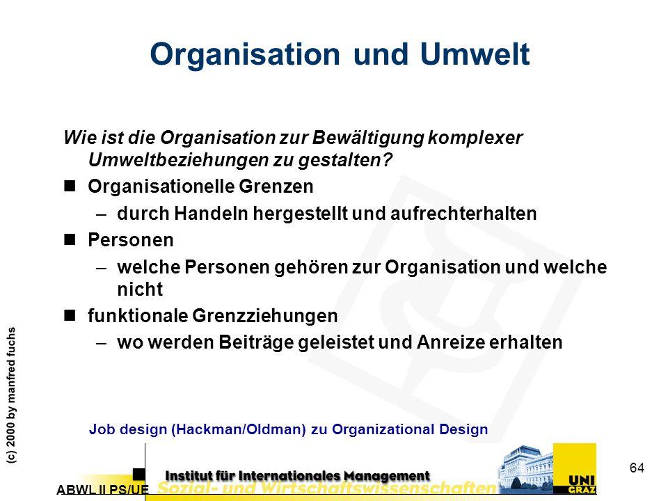 ABWL II PS/UE (c) 2000 by manfred fuchs 64 Organisation und Umwelt Wie ist die Organisation zur Bewältigung komplexer Umweltbeziehungen zu gestalten.