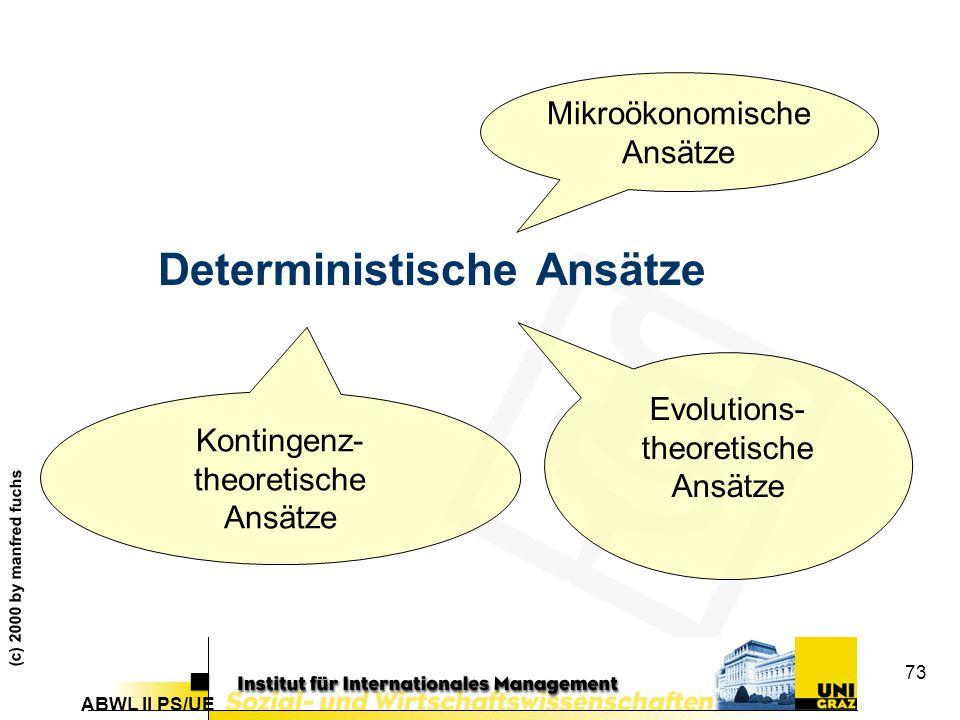 ABWL II PS/UE (c) 2000 by manfred fuchs 73 Deterministische Ansätze Mikroökonomische Ansätze Kontingenz- theoretische Ansätze Evolutions- theoretische Ansätze