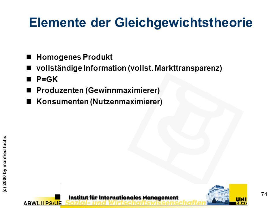 ABWL II PS/UE (c) 2000 by manfred fuchs 74 Elemente der Gleichgewichtstheorie nHomogenes Produkt nvollständige Information (vollst.