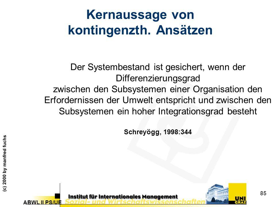 ABWL II PS/UE (c) 2000 by manfred fuchs 85 Kernaussage von kontingenzth.