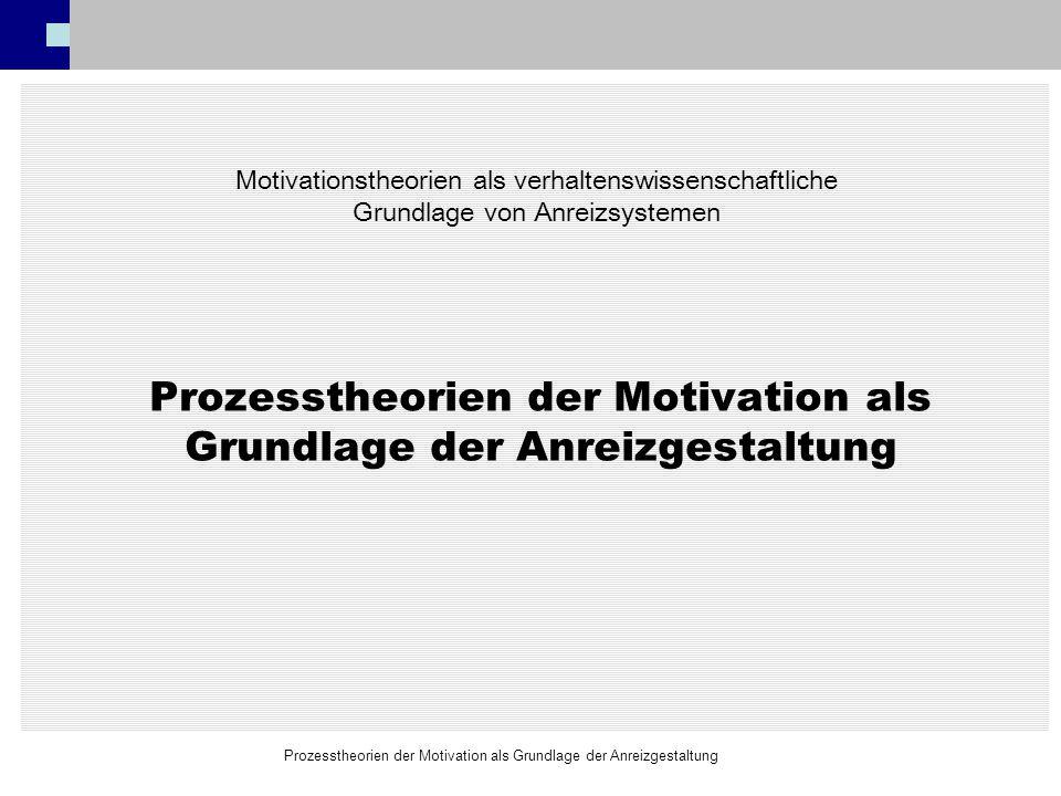 Prozesstheorien der Motivation als Grundlage der Anreizgestaltung Motivationstheorien als verhaltenswissenschaftliche Grundlage von Anreizsystemen