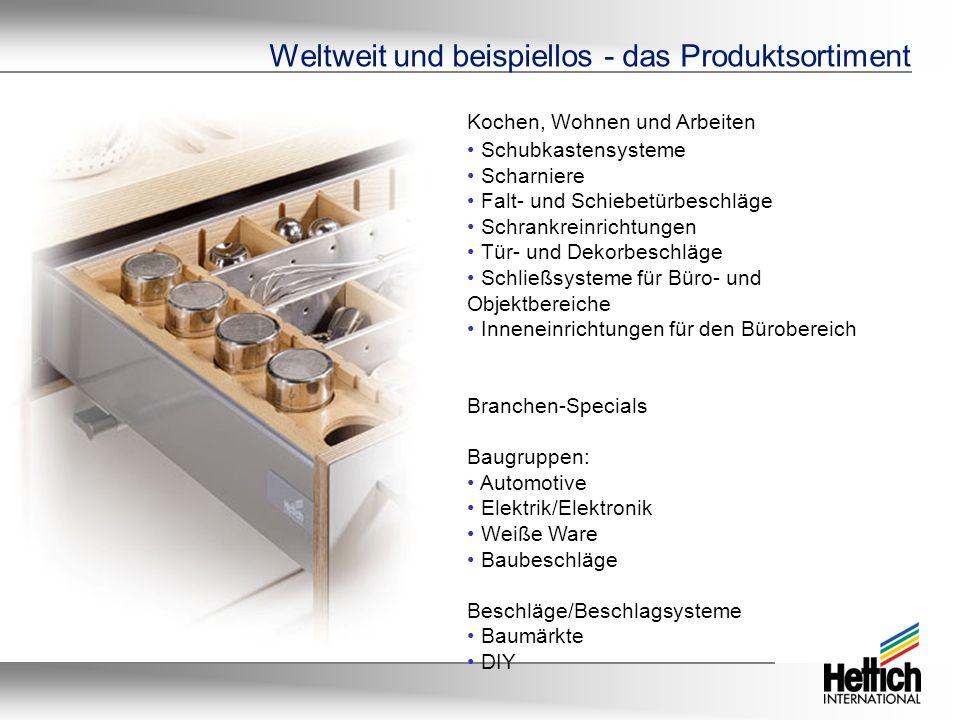 Weltweit und beispiellos - das Produktsortiment Kochen, Wohnen und Arbeiten Schubkastensysteme Scharniere Falt- und Schiebetürbeschläge Schrankreinric