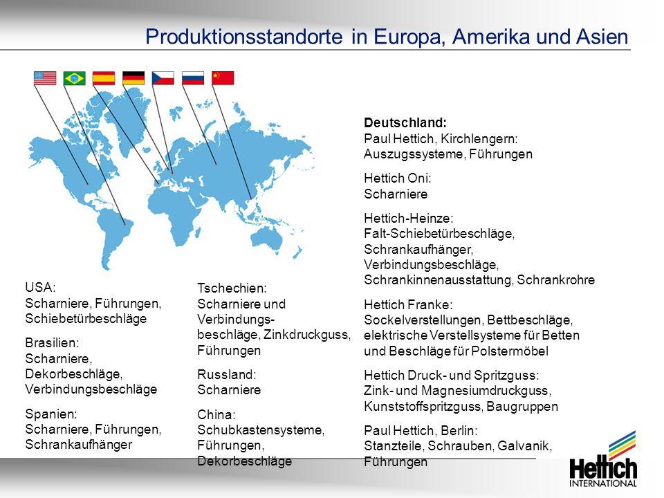 USA: Scharniere, Führungen, Schiebetürbeschläge Brasilien: Scharniere, Dekorbeschläge, Verbindungsbeschläge Spanien: Scharniere, Führungen, Schrankaufhänger Tschechien: Scharniere und Verbindungs- beschläge, Zinkdruckguss, Führungen Russland: Scharniere China: Schubkastensysteme, Führungen, Dekorbeschläge Deutschland: Paul Hettich, Kirchlengern: Auszugssysteme, Führungen Hettich Oni: Scharniere Hettich-Heinze: Falt-Schiebetürbeschläge, Schrankaufhänger, Verbindungsbeschläge, Schrankinnenausstattung, Schrankrohre Hettich Franke: Sockelverstellungen, Bettbeschläge, elektrische Verstellsysteme für Betten und Beschläge für Polstermöbel Hettich Druck- und Spritzguss: Zink- und Magnesiumdruckguss, Kunststoffspritzguss, Baugruppen Paul Hettich, Berlin: Stanzteile, Schrauben, Galvanik, Führungen