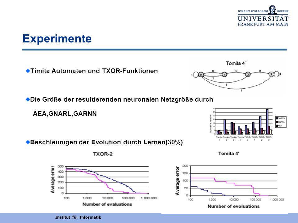 Institut für Informatik Experimente Timita Automaten und TXOR-Funktionen Die Größe der resultierenden neuronalen Netzgröße durch AEA,GNARL,GARNN Besch