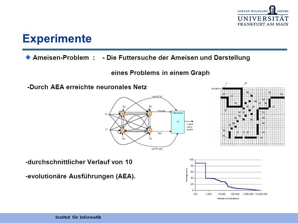 Institut für Informatik Experimente Ameisen-Problem : - Die Futtersuche der Ameisen und Darstellung eines Problems in einem Graph -Durch AEA erreichte
