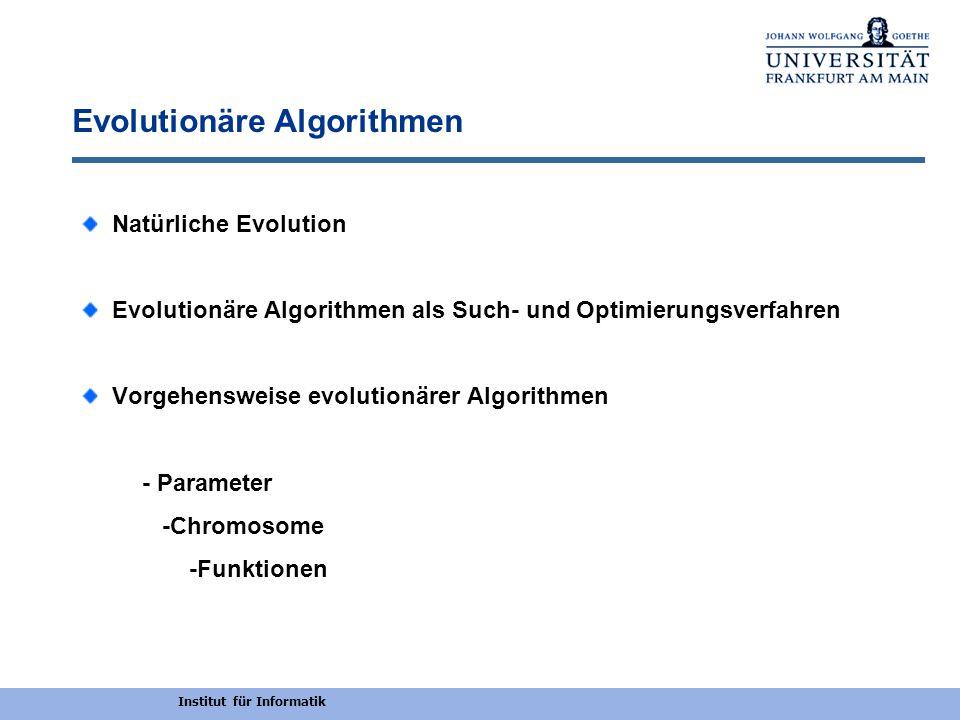Institut für Informatik Evolutionäre Algorithmen Natürliche Evolution Evolutionäre Algorithmen als Such- und Optimierungsverfahren Vorgehensweise evol