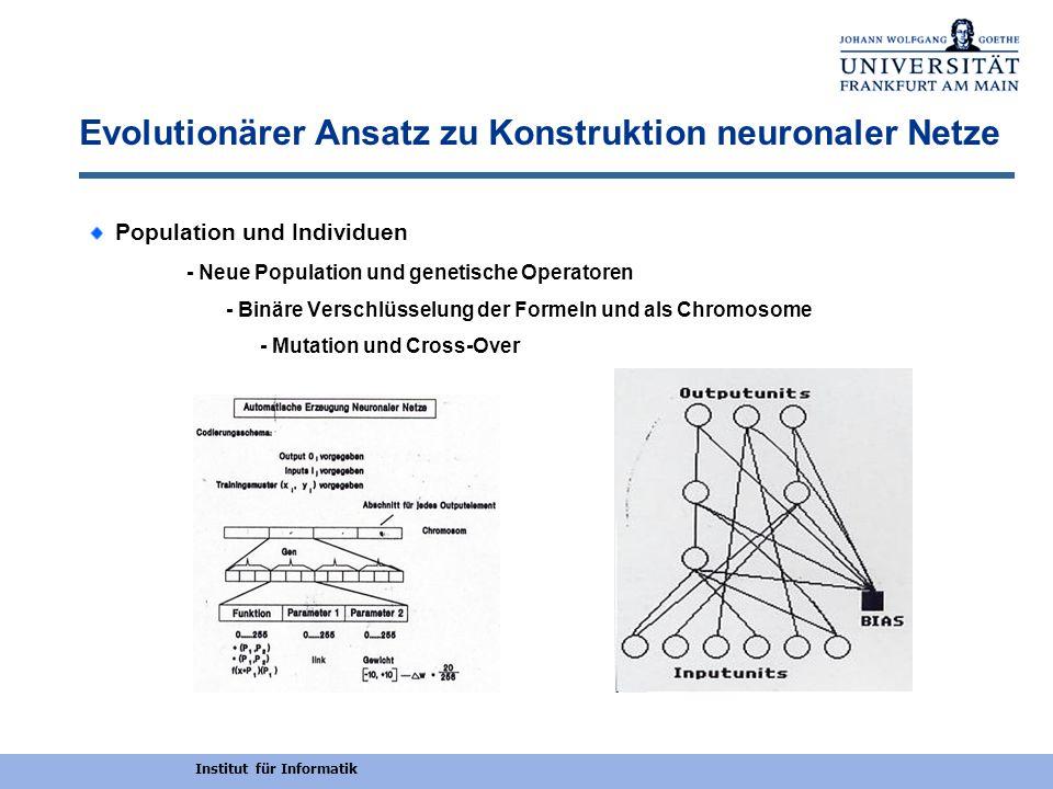 Institut für Informatik Evolutionärer Ansatz zu Konstruktion neuronaler Netze A i = f 7 (a 1.x 1 + a 6.(f 4 (a 2.x 1 )) + a 7.( f 5 (a 3.x 1 + f 3 (a 4.x 2 ))) + a 8.(f 6 (a 5.