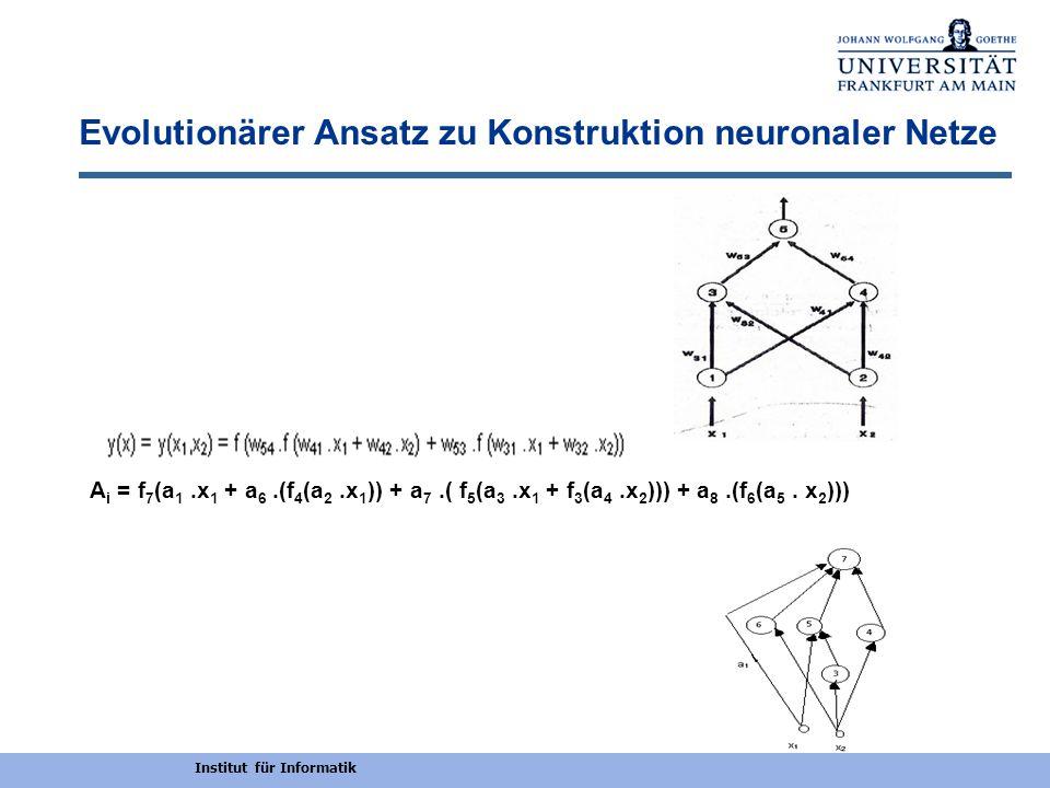Institut für Informatik Evolutionärer Ansatz zu Konstruktion neuronaler Netze A i = f 7 (a 1.x 1 + a 6.(f 4 (a 2.x 1 )) + a 7.( f 5 (a 3.x 1 + f 3 (a