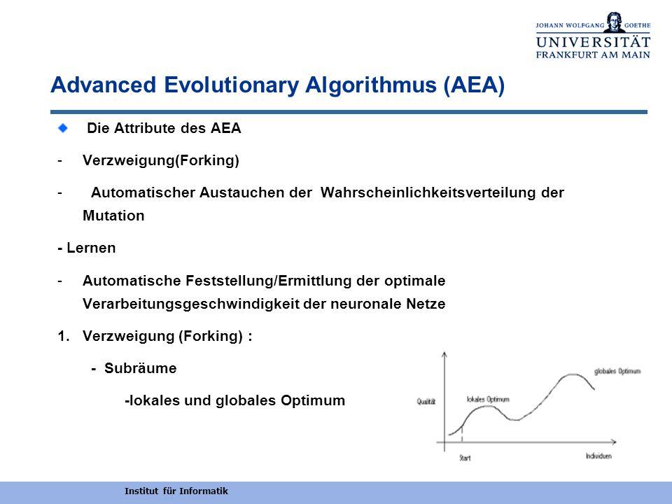 Institut für Informatik Advanced Evolutionary Algorithmus (AEA) Die Attribute des AEA -Verzweigung(Forking) - Automatischer Austauchen der Wahrscheinl