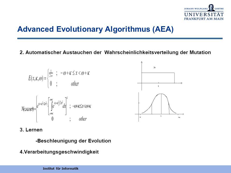 Institut für Informatik Experimente Timita Automaten und TXOR-Funktionen Die Größe der resultierenden neuronalen Netzgröße durch AEA,GNARL,GARNN Beschleunigen der Evolution durch Lernen(30%)