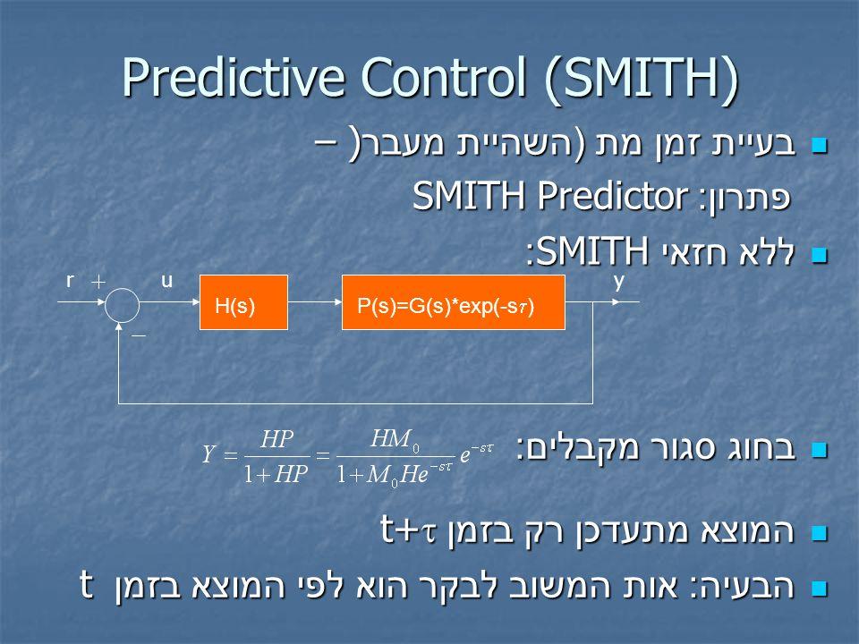 Predictive Control (SMITH) בעיית זמן מת ( השהיית מעבר ) – בעיית זמן מת ( השהיית מעבר ) – פתרון :Predictor SMITH פתרון :Predictor SMITH ללא חזאי SMITH: ללא חזאי SMITH: בחוג סגור מקבלים : בחוג סגור מקבלים : המוצא  מתעדכן  רק  בזמן t+  המוצא  מתעדכן  רק  בזמן t+  הבעיה : אות המשוב לבקר הוא לפי המוצא בזמן t הבעיה : אות המשוב לבקר הוא לפי המוצא בזמן t H(s) P(s)=G(s)*exp(-s  ) ruy