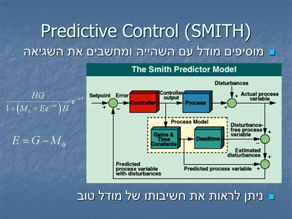 מוסיפים מודל עם השהייה ומחשבים את השגיאה מוסיפים מודל עם השהייה ומחשבים את השגיאה Predictive Control (SMITH) ניתן לראות את חשיבותו של מודל טוב ניתן לראות את חשיבותו של מודל טוב
