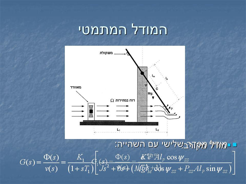 המודל המתמטי מודל מסדר שלישי עם השהייה : מודל מסדר שלישי עם השהייה :  מודל מקורב: